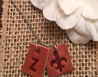 Initial Necklace, Initial Jewelry, Fleur-de-lis leather Charm, Mix & Match - TWO BUCKS EACH added Initial or Design - StOREWIDE SaLE