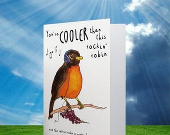 Rockin' Robin   robin   bird   card   greeting card   friendship   love   music   sound   melbourne made   australia