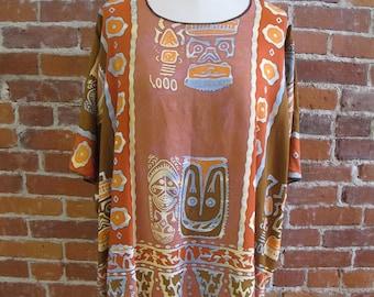 Handmade One Size Plus Tunic|Lagenlook |Recycled Sarong|Wearable Art Clothing By Fiber Art Boutique Spokane|Originally Handmade Clothing