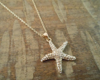 Rhinestone Starfish Necklace - Gold Starfish Necklace - Beach Wedding - Wedding Jewelry