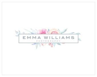 Premade Photography and Watermark Logo Design, Watercolor Floral Frame Logo, Blog Header Design 389