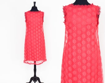 60s Pink  Floral Lace Dress | Sleeveless Shift Dress |  Large