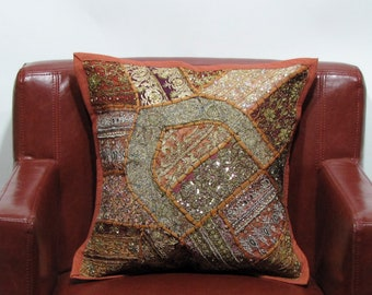 Patchwork Indian Cushion Cover,Handmade,Embroidery.boho,bohemian,ethnic folk art,vintage patch,hippy,hippie,India cushions,India art ,gift.