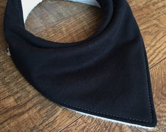 Organic bandana bib black bib organic Bamboo Terry cloth bib-organic cotton knit bib-Gender Neutral bandana bib organic baby bib Organic