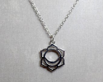 Silver Plated Sacral Chakra Necklace - Chakra Charm Necklace - Sacral Chakra Pendant