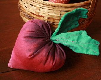 Soft Radish baby rattle, vegetable rattle, handmade plush toy