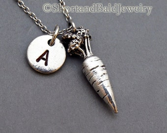 Carrot Charm necklace, vegetable charm, Silver carrot, initial necklace, initial hand stamped, personalized, antique silver, monogram