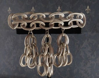 Vintage HOBE Silver Chain Brooch