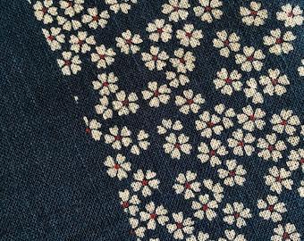 Japanese Flower print Indigo blue traditional double border print cotton fabric