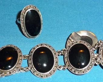 Vintage Marcasite and Onyx Ring & Bracelet Set