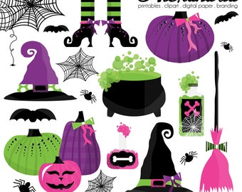 Toil and Trouble Digital Clipart - Personal & Commercial Use - Halloween Witch Clipart, Pumpkin Graphics, Glam Images