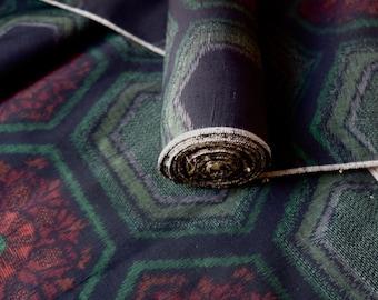 Indigo Silk Tsumugi Kimono Fabric unused bolt by the yard Navy Green Burgundy kikko Hexagon Geometric Floral Pattern 100% Silk OFF the bolt
