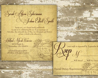 Rustic Wedding Invitation / Rustic Winery Invitation / Winery Invitation / Rustic Vineyard / Vineyard Wedding / Shabby Chic Invitation