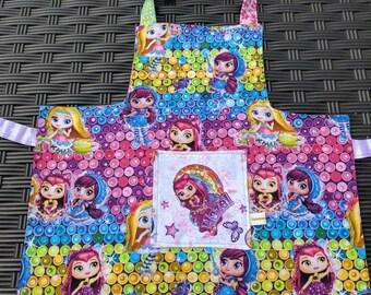 Kids Apron, Little Charmers Kids Apron, Kids Art Smock, Girls Apron, Reversible Apron, Hazel and Posie Girls Apron, Handmade Apron, 4T-6