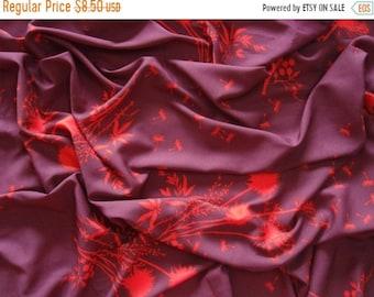 ON SALE poly crepe fabric - orange dandelion print on burgundy - PCR062 - 1 yard