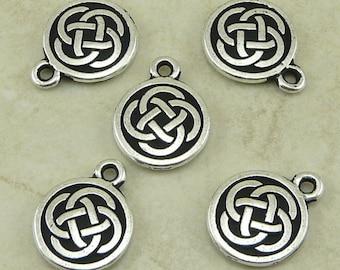 5 TierraCast Celtic Knot Round Charms > Irish Ireland St Patricks Day - Lead Free Silver Plated Pewter - I ship internationally 2033