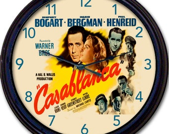 "Casablanca, Humphrey Bogart, Ingrid Bergman, Wall Clock, Hollywood, Warner Bros, Drama Film, Romance, Movie Poster, Peter Lorre, New 10"""
