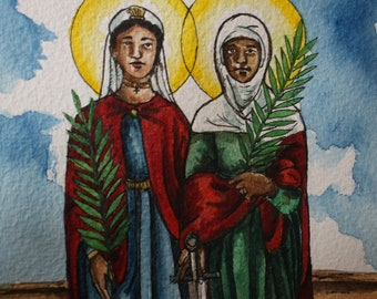 """Sts. Perpetua and Felicity - Ready to Ship - Original Watercolor 5 x 7"""" Painting"""