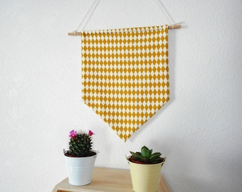 Fabric banner - print fabric Rhombus - wall decor - mustard yellow and white - geometric - graphic - Garland - Scandinavian