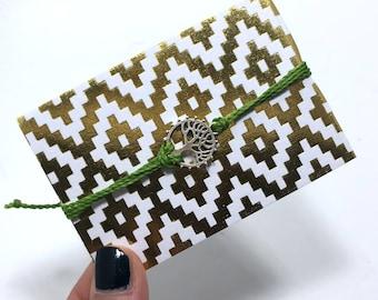 Green Tree of Life Charm Bracelet / Surfer Bracelet / Friendship Bracelet / Wax Polyester Cord / Layering Bracelet / Charm Bracelet