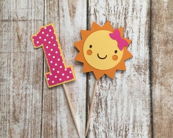 You Are My Sunshine Cupcake Picks in Pink, Set of 12, Party Picks, Cupcake Toppers, Cake Topper, Birthday Party, First Birthday, Baby Shower