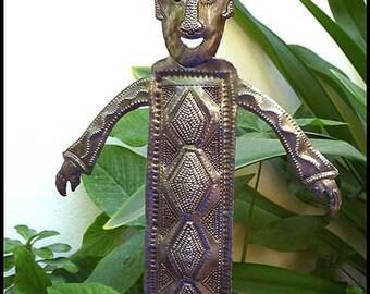 "Metal Plant Stake, Garden Art, Plant Stick, Garden Decor, Steel Drum Art, Haitian Art, Yard Art, Outdoor Decor -  8 1/2"" x 15 1/2""- PS-1799"