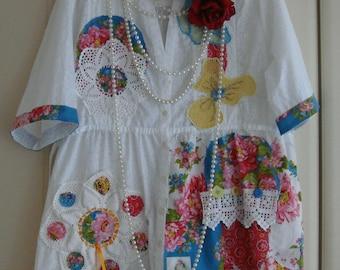 Wearable Art White Teal Reds lemon Cotton Shirt Top Tunic With Vintage Fabric Crochet Mats Doilies Lace Mandarin Collar