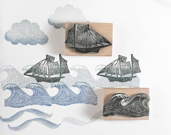 Sailing Ship, Waves and Cloud Rubber Stamps - ship stamp - sea stamp - cloud stamp - marine stamp