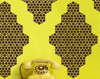 Honey Bee Diamonds Vinyl Wall Decals - 10 Graphics, Vinyl Wall Graphics, Bees, Hexagon, Wallpaper, Stickers,  item 10037