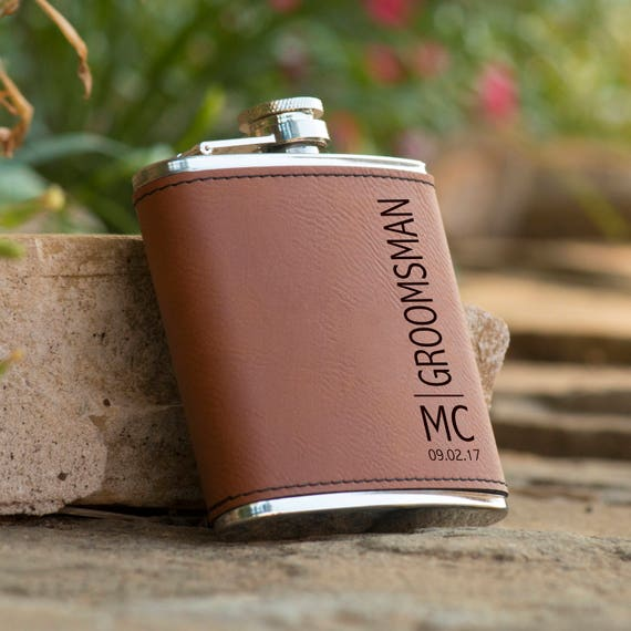 Personalized 6 oz. Initials Leatherette Stainless Steel Flask