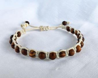 Shambala Style Macramé Olive Wood & Cotton adjustable Bracelet