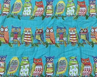 richloom blue cotton linen owl print fabric by the yard free shipping