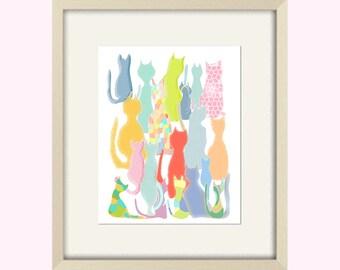 cat print, cat poster, abstract art, cat art, kids wall art cat decor, cat bathroom decor, cat bathroom art, cat nursery art, modern nursery