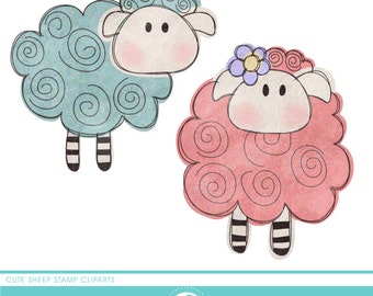 Cute sheeps stamp cliparts - COMMERCIAL USE OK