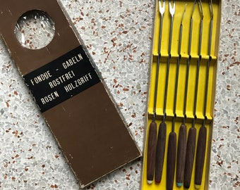 fondue forks rosewood handles set of six in original box Rostfrei Germany