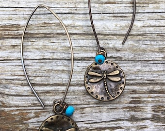 Brass Gold Dragonfly Turquoise Earrings