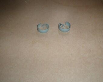 vintage clip on earrings sky blue metal enamel hoops