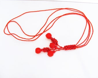 Vintage Handmade Red Seed Bead Necklace