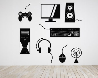 Gamer Video Game Vinyl Sticker Over Controller Joystick Gaming Console Computer PC Mouse Keyboard Arcade Shooter Decal Wall Decor ZX570
