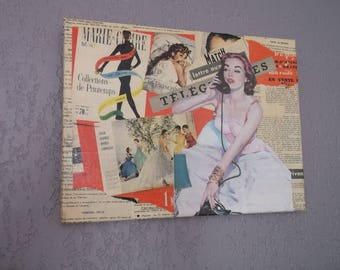 Mid century magazine collage canvas
