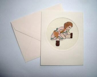 Female Birthday Card. Cross Stitch Card. Birthday Card.  Art Card