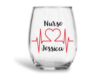 Nurse wine glass, custom nurse wine glass, personalized rn wine glass, personalized nurse gift, personalized rn gift, rn gift,