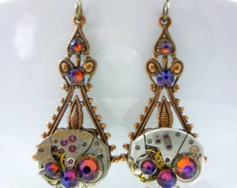 Victorian Folly Filigree Drop Earrings with Volcano Swarovski Crystals & Vintage Watch Movement
