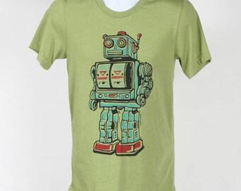Vintage Robot On Heather Green T-shirt SM MD LG Xl 2XL
