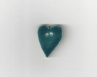 Clearance - Large Country Green Folk Heart Button by Mill Hill, #86206U