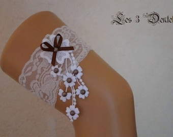 Chocolate brown and white lace wedding garter * lace * custom