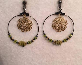 Green & copper hoop earrings