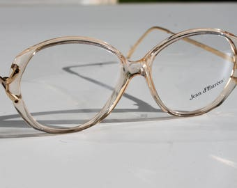 unique vintage JEAN d' ESTREES 22,5 54-16 oversized transparent with gold accent and arms  eye/sunglasses frames made in France New