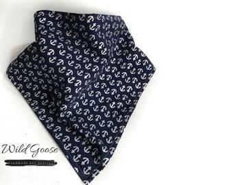 Navy Blue Anchor Dog Bandana - Boy Bandana - Cat Bandanas - Custom Size - Gift Guide - Custom Made - Handmade Bandana - Silver Anchors