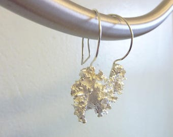 Filigree Leaf Earrings, Cast Sterling Silver or Bronze, Organic Nature Jewelry, Woodland, Lacy